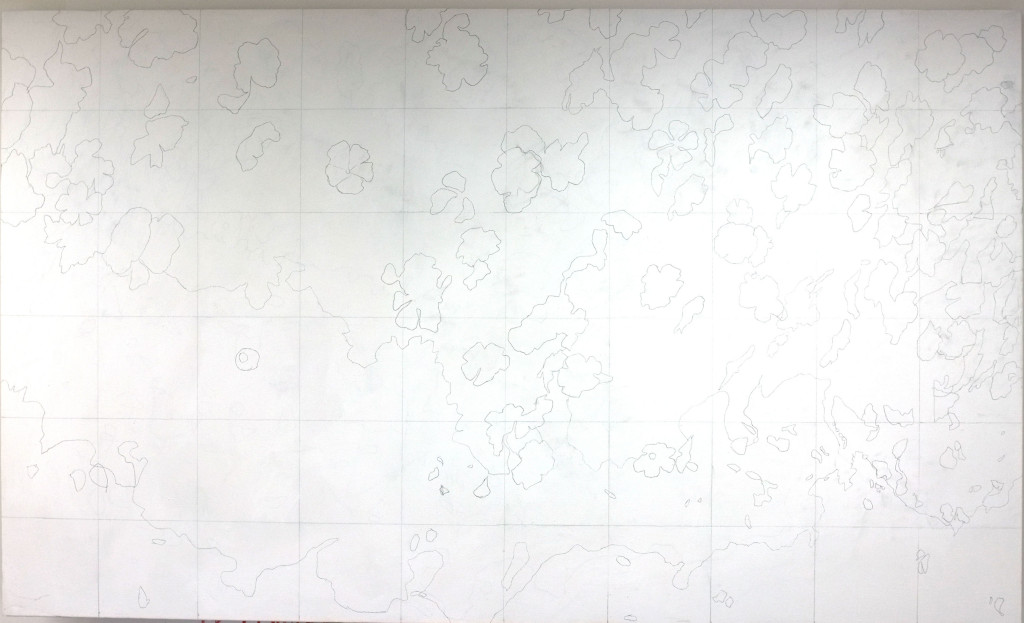The canvas, drawn up for the third time....
