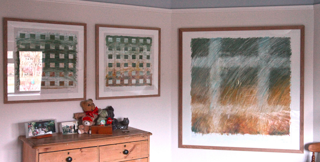 Drawings hanging in the guestroom, looking good in this location