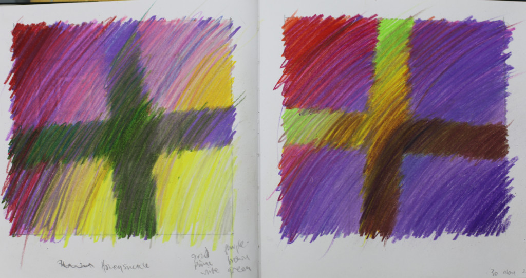Drawings using a familiar format to look at colour - these unsuccessful in pencil