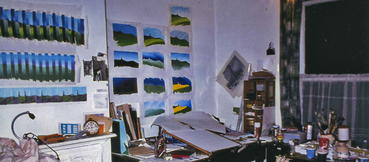 My studio in Darwen - I looked over the railway line onto the moors. Note the photo's of Brighton by the fireplace. The small painted sketches were a daily record of Darwen Twoer in changing light and weather. I do the same now with photo's of my Seaford garden