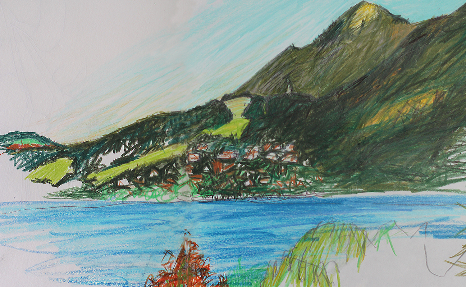 Pencil drawing, lake Annecy in France. Drawn across two pages of a large sketchbook in pencil, approx 18 inches across