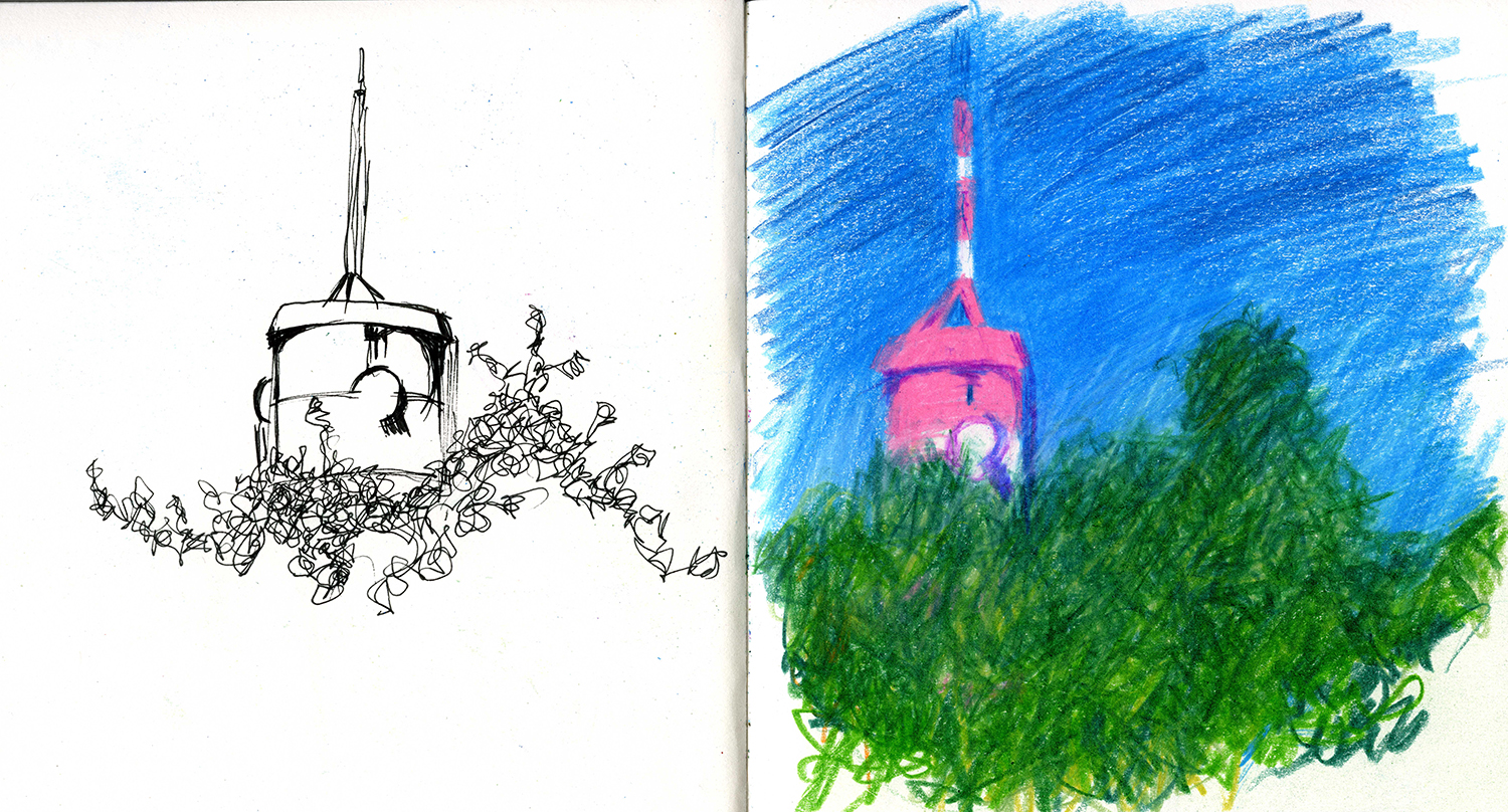 pages from a sketchbook (Navarro, Italy). left pen and ink, right coloured pencils