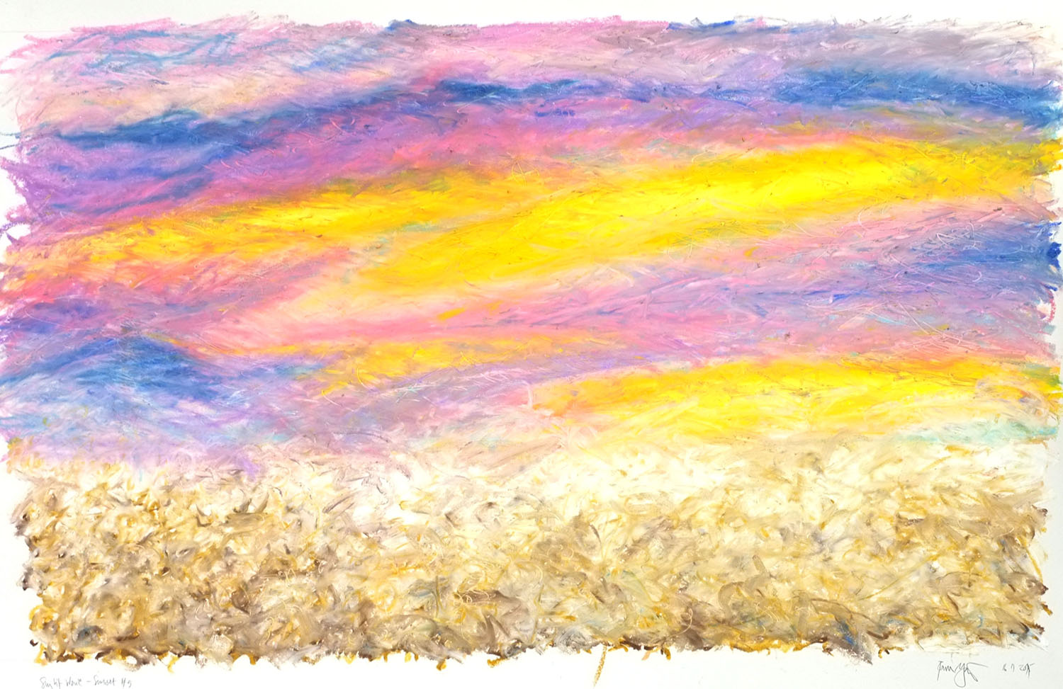 Sunset Wave 5 - oil pastels on 250 gram cartridge paper, 30 x 22 inches