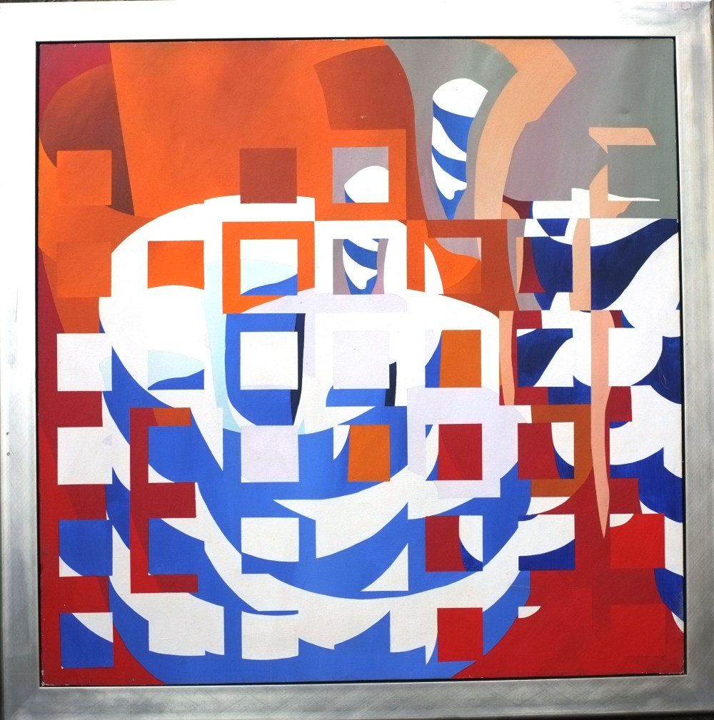 Tea for Two Acrylic on Canvas 4 feet 6 inches square 1998. Now in a Private Collection in London