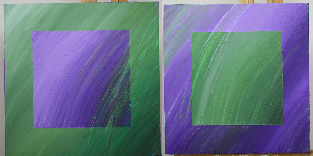 Diptych Acrylic and oil pastel on canvas
