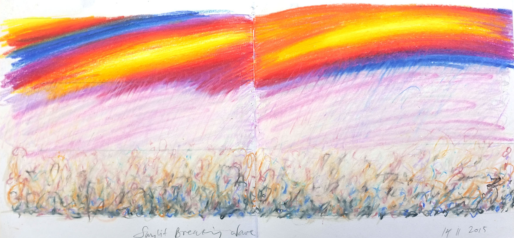 Sketch book, pencil on paper, Sunset Wave