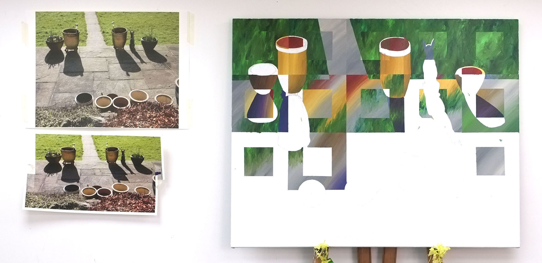 intial photograph, cut and collaged then transferred onto the canvas using the traditional grid