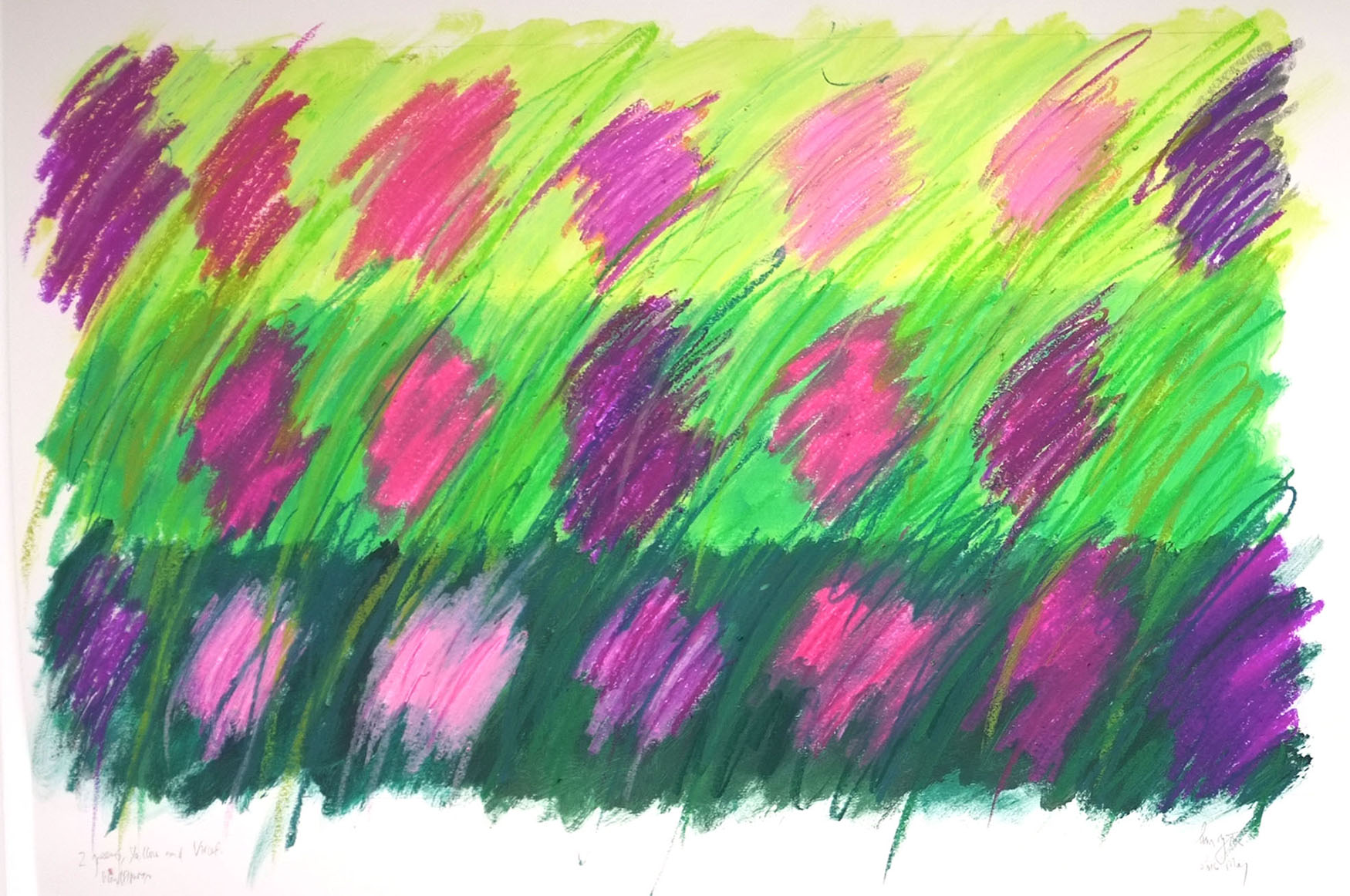 Colour exploration. Drawing on paper. Mixed media, oil pastels and acrylic paint A1 size