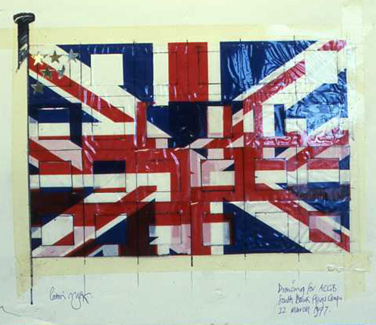 This flag was created for an Arts council competition and exhibited at Festival Hall. Created when there was talk of England becoming too influenced by the US