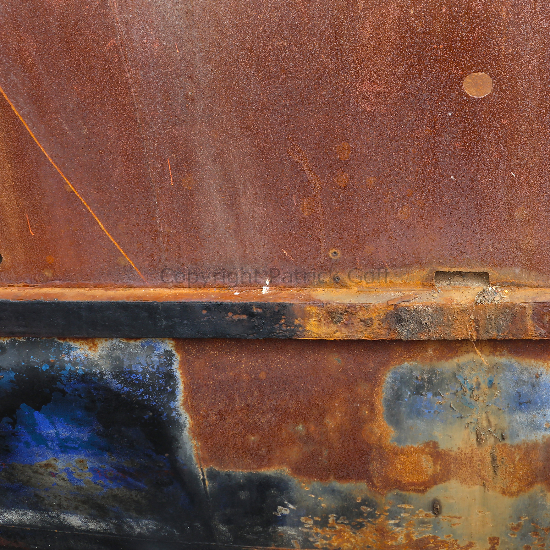 A ships side showing such painterly qualities of colour and texture the camera loved it.