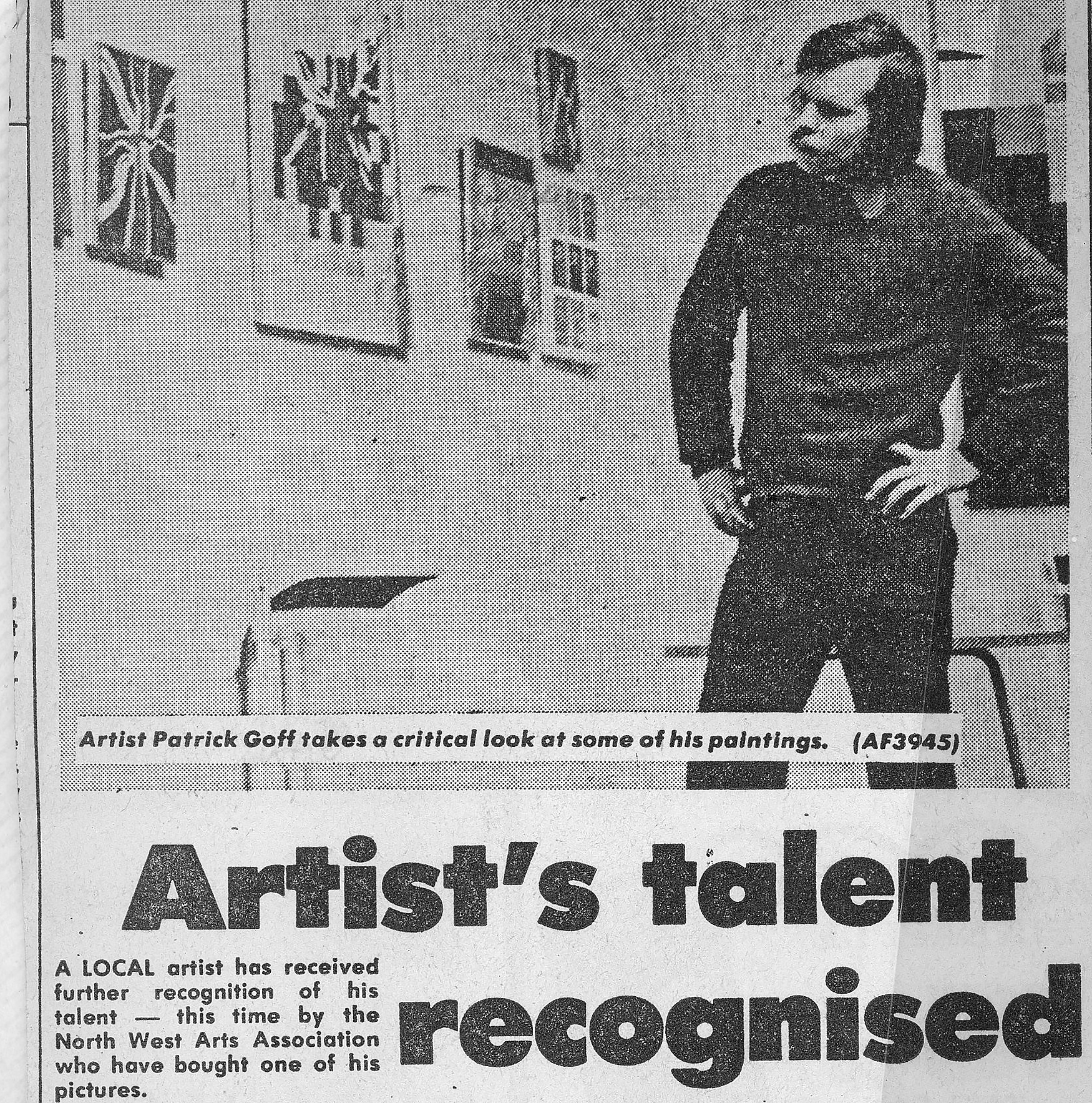 From Balckburn paper, the Dustman contemplates his show in Blackburn's Lewis Gallery,  1976